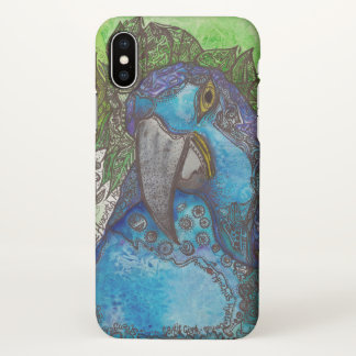 Coque iPhone X Caisse bleue de l'iPhone X d'ara de jacinthe
