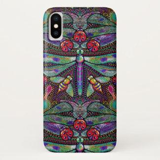 Coque iPhone X Caisse de damassé de libellule de nouveau d'art