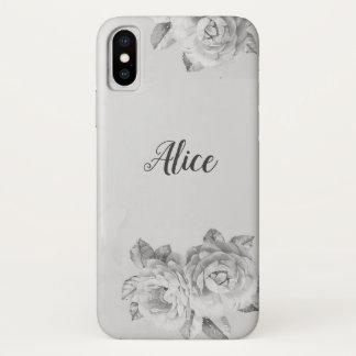 Coque iPhone X Caisse florale de marbre noire et blanche de