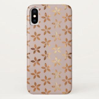 Coque iPhone X Caisse florale d'or d'Iphone X de motif