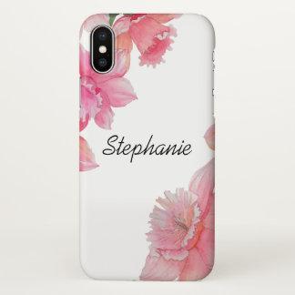 Coque iPhone X Caisse florale personnalisée de l'iPhone X