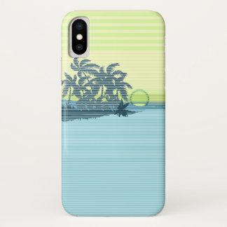 Coque iPhone X Caisse hawaïenne de grande rayure de coucher du