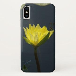 Coque iPhone X Caisse jaune de téléphone de nénuphar de Lotus