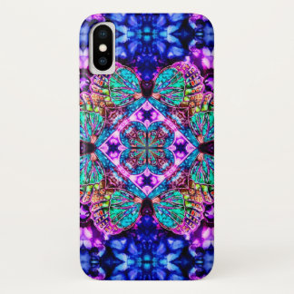 Coque iPhone X Caisse magique de mandala d'aquarelle de papillon