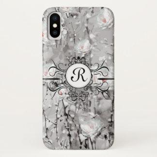Coque iPhone X Caisse rose de téléphone de monogramme de glace