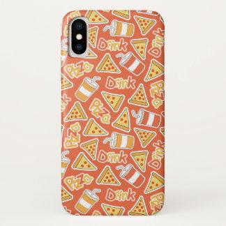 Coque iPhone X Caisses de pizza et de téléphone de motif de