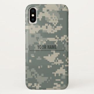 Coque iPhone X Camouflage d'ACU d'armée personnalisable