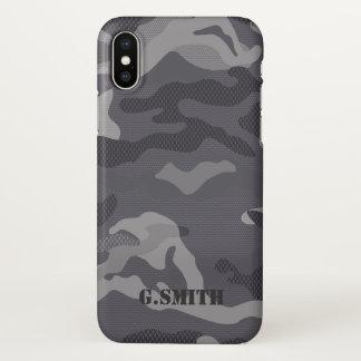 Coque iPhone X Camouflage gris de texture. Camo votre