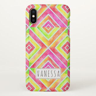 Coque iPhone X Carrés géométriques d'aquarelle colorée