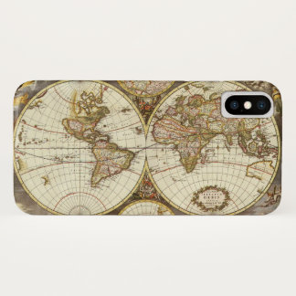 Coque iPhone X Carte antique du monde, C. 1680. Par Frederick de