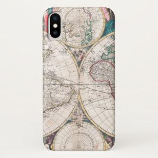 Coque iPhone X Carte antique du monde de Double-Hémisphère