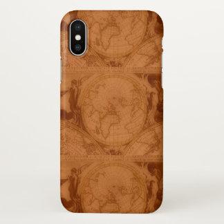 Coque iPhone X Carte de Vieux Monde rouge-brun en cuir bronzée