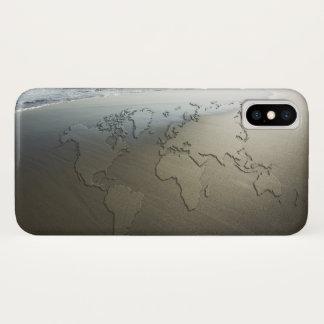 Coque iPhone X Carte du monde sur le sable