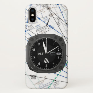 Coque iPhone X Carte sectionnelle d'altimètre d'avions
