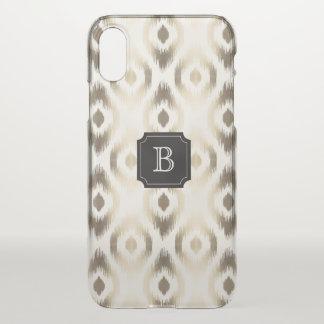 Coque iPhone X Cas chic élégant de monogramme d'Ikat de diamant