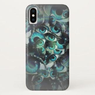 Coque iPhone X cas conscient de téléphone de conception de yeux