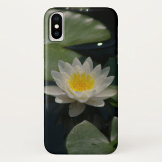 Coque iPhone X Cas de l'iPhone X de nénuphar de Lotus blanc