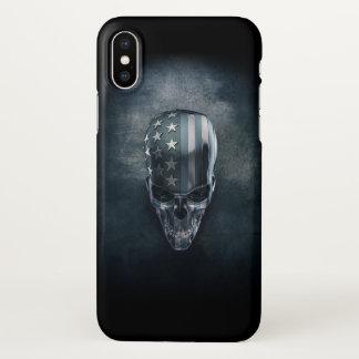Coque iPhone X Cas de l'iPhone X de Zazzle de crâne de drapeau