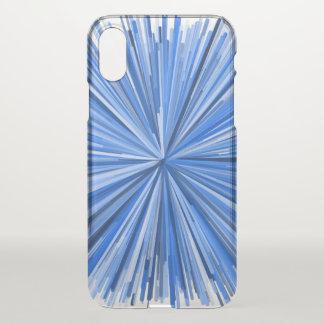 Coque iPhone X Cas de téléphone de motif d'éclat de Blue Line