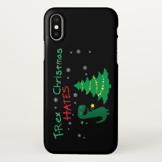 Coque iPhone X Cas de téléphone de Noël de haines de T-Rex