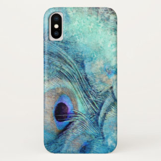 Coque iPhone X Cas de téléphone de plume de paon