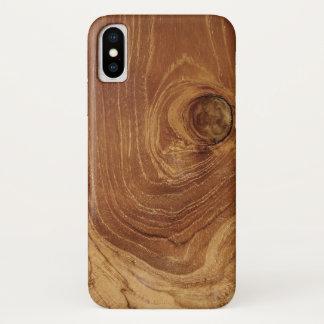 Coque iPhone X Cas en bois rustique de téléphone de photo de