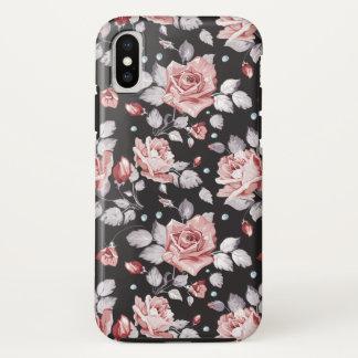 Coque iPhone X Cas floral rose vintage de l'iPhone X de motif