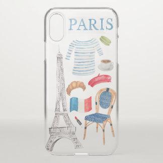 Coque iPhone X Cas français de griffonnages d'aquarelle de Paris