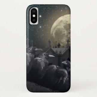 Coque iPhone X Cas gothique de l'iPhone X de corneilles