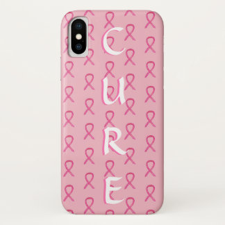 Coque iPhone X Cas rose de l'iPhone X de cancer du sein de ruban