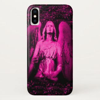 Coque iPhone X Cas rose de parties scintillantes d'ailes d'ange