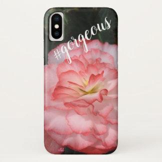 Coque iPhone X Cas rose de téléphone de fleur de géranium