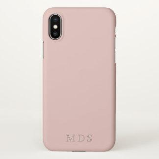 Coque iPhone X Cas rose millénaire décoré d'un monogramme de