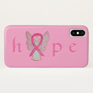 Coque iPhone X Cas roses de l'iPhone X d'ange de Cancer de ruban