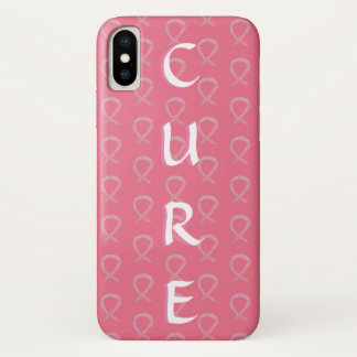 Coque iPhone X Cas roses de l'iPhone X de cancer du sein de ruban