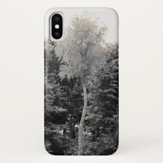 Coque iPhone X Cas solitaire de téléphone d'arbre