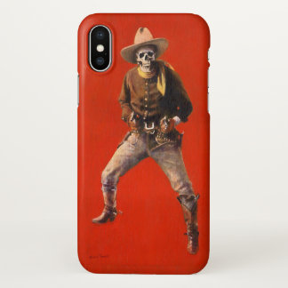 Coque iPhone X Cas squelettique vintage de l'iPhone X de cowboy