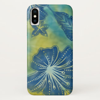 Coque iPhone X Cas tropical de l'iPhone 7 de batik de fleur de