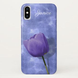 Coque iPhone X Cas ultra-violet de l'iPhone X de tulipe
