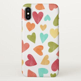 Coque iPhone X Cas vintage de l'iPhone X de Valentine de coeurs
