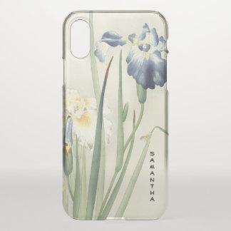 Coque iPhone X Cas vintage de l'iPhone X d'iris japonais de