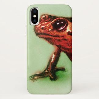Coque iPhone X cas vintage d'iPhone - grenouille