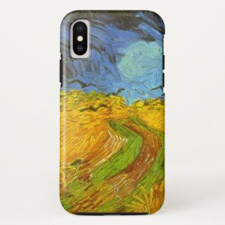 Coque iPhone X Champ de blé de Van Gogh avec des corneilles,