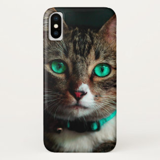 Coque iPhone X Chat aux yeux verts