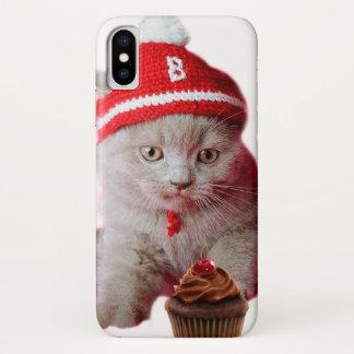 Coque iPhone X Chat de petit gâteau - ange et démon - croquis de