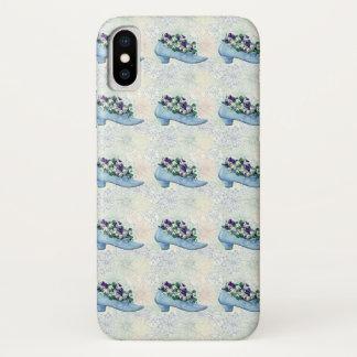 Coque iPhone X Chaussure bleue victorienne florale