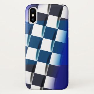 Coque iPhone X Checkered élégant sur l'arrière - plan bleu
