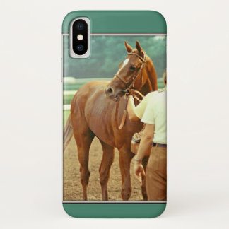 Coque iPhone X Cheval de course affirmé 1978 de pur sang