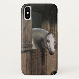 Coque iPhone X Cheval gris à la porte stable