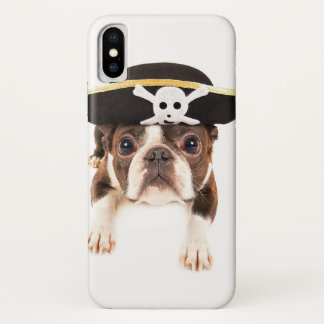 Coque iPhone X Chien de Boston Terrier habillé en tant que pirate